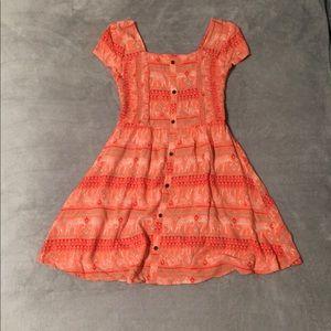 Orange tribal patterned flowy dress